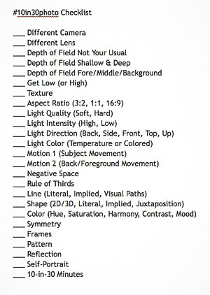 Here's a checklist of all 25 items. Print it out, take it with you, and have fun!