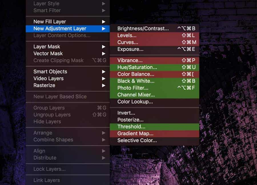 By color coding your menu items in Photoshop, you can tame the BEAST of an Application that PS is and use what you need while avoiding the clutter of tools you'll never use.