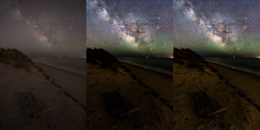 Unprocessed RAW file (left); Milky Way edits applied (center); Shadows +100 (right)