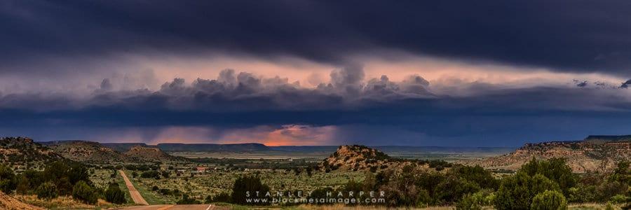 Overlooking Kenton, Oklahoma while storms move through the landscape.
