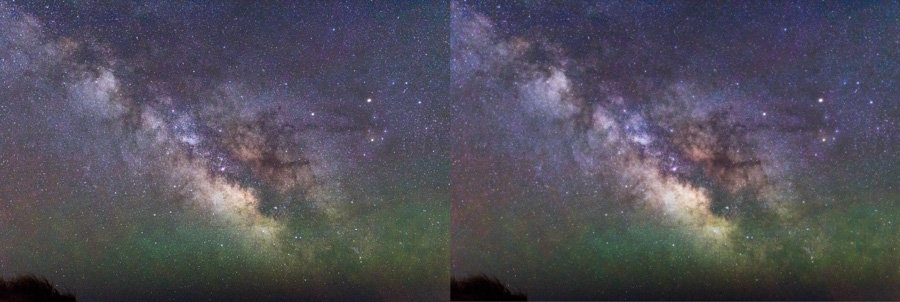 Before (left) and after (right) apply an Orton Effect to an image.