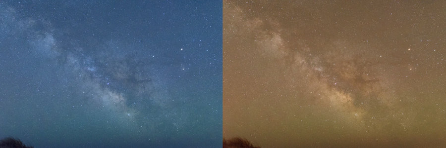 Unprocessed RAW file with Tungsten WB (left) and Daylight WB (right).