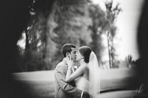 Post-wedding workflow - A photo of a bride and groom on a golf course