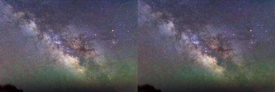 Before star reduction (left) and after (right).