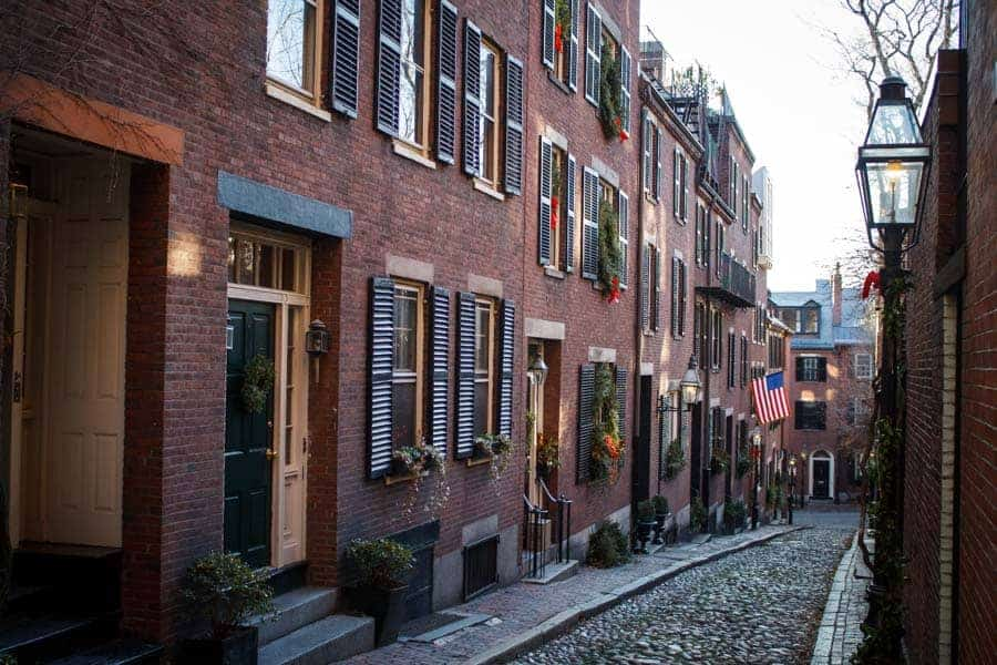 Acorn Street in Beacon Hill.