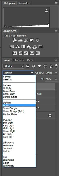 The blend modes drop down list is located at the top of the layers panel, to the left of the fill and opacity sliders.