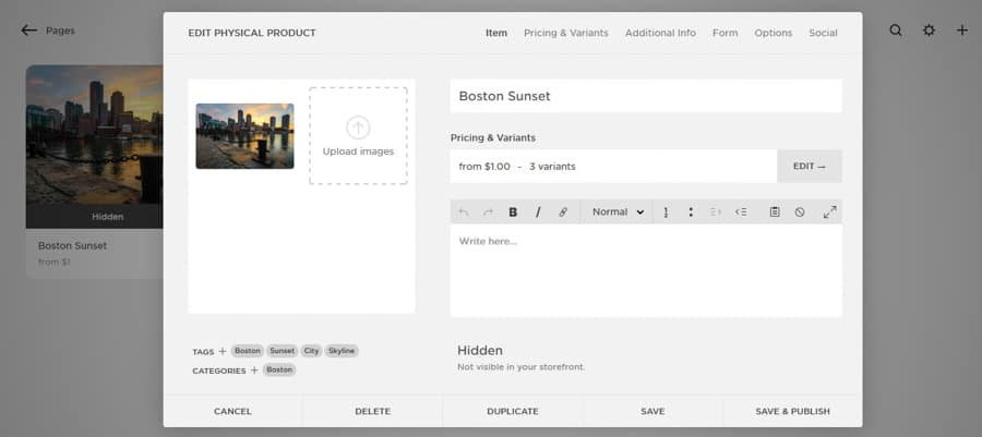 Creating a new product in your Squarespace store.