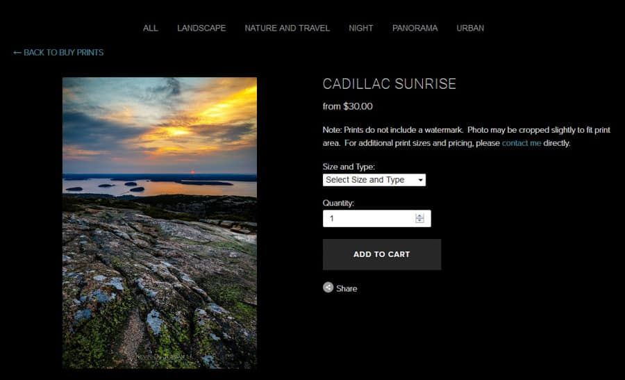 Example of a completed product page in a live store on Squarespace (Image Copyright Kevin D. Jordan Photography)