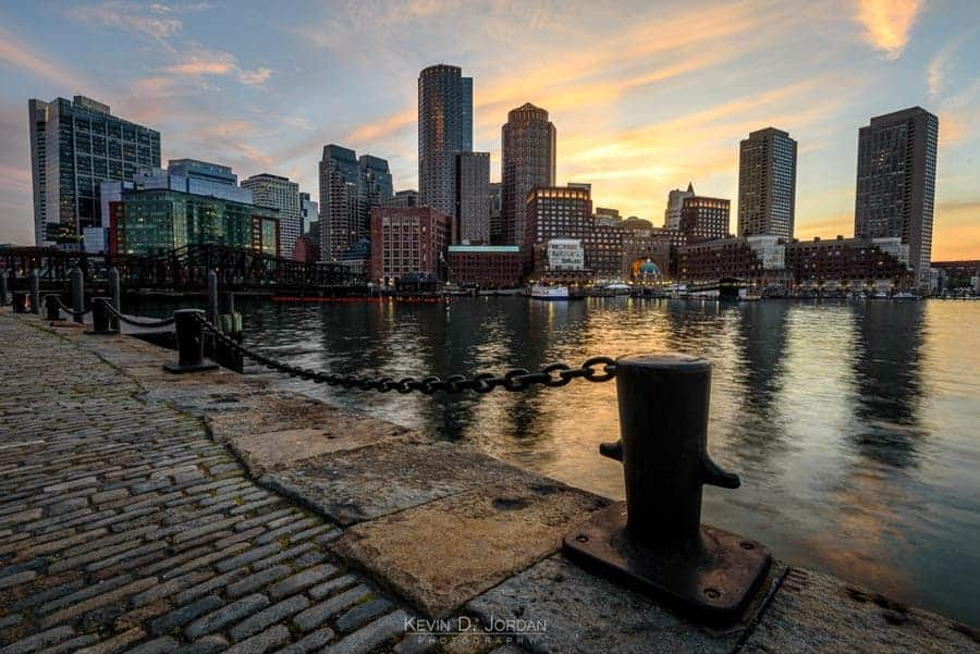 Sunset from Fan Pier in the Seaport neighborhood of Boston (© Kevin D. Jordan Photography)