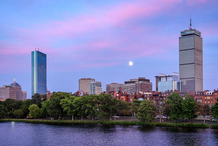 The Boston skyline from the Harvard Bridge (© Kevin D. Jordan Photography)