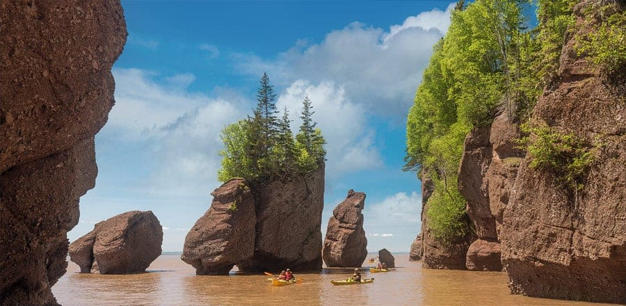 Kayakers at the Hopewell Rocks when the tide is in. Photo by Tracy Munson.