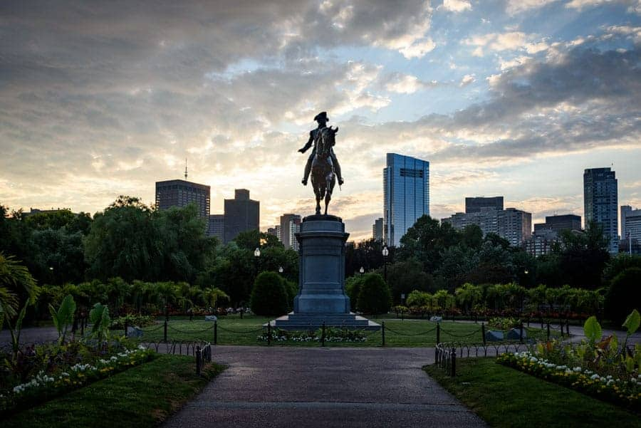 The George Washington statue in Boston's Public Garden at sunrise (© Kevin D. Jordan Photography)