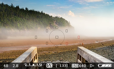 Fog rolling in over the bay of Fundy, seen through a camera viewfinder.