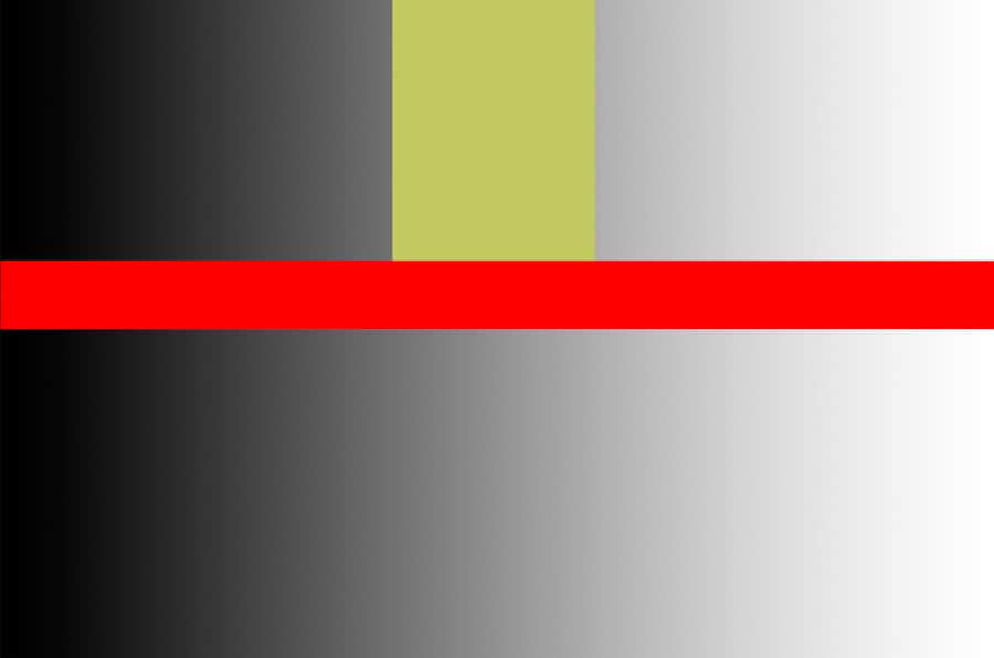 This GRADIENT goes from 0-255, BLACK to WHITE. The tolerance was set to 32. The yellow area shows the 32 values that were chosen. Since contiguous is checked, the red line is dividing the two sides so therefore the lower tones aren't selected. If not checked, it would select the lower tones as well as the top yellow area.