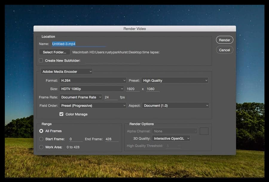 The Render Video dialogue box.