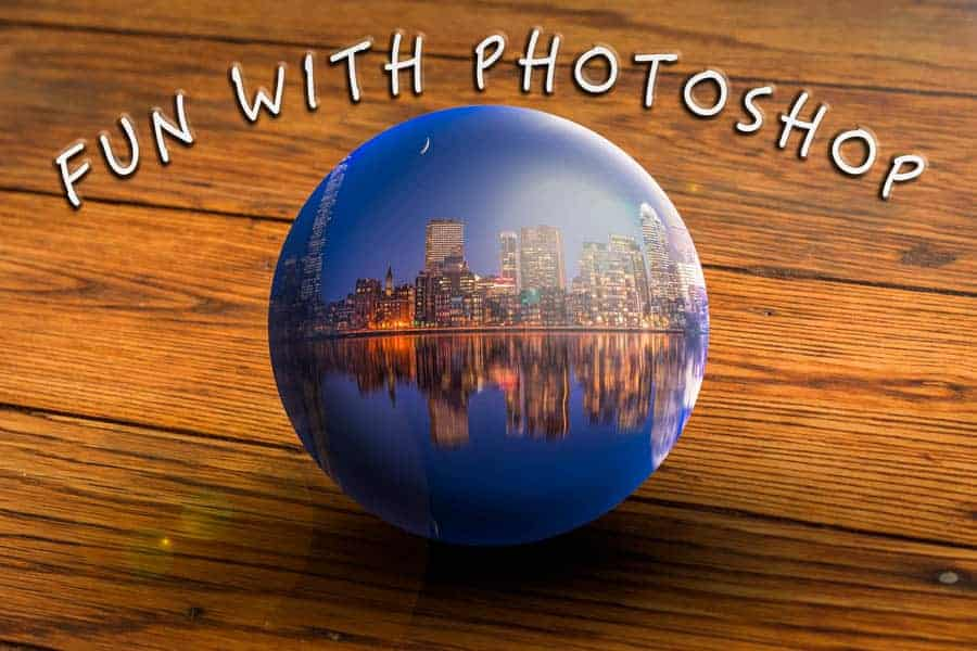 "Stuffing Boston, MA in a ""Glass Ball"" on a vitrtual table at home? Anything is possible in Photoshop!"