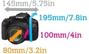 This graphic shows the proportions of camera and lens that the Aquapac Waterproof DSLR bag can accomodate.