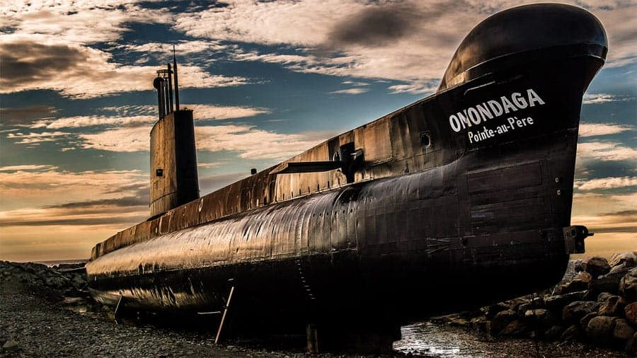 A photo of the decommissioned Onondaga submarine in Rimouski, QC.
