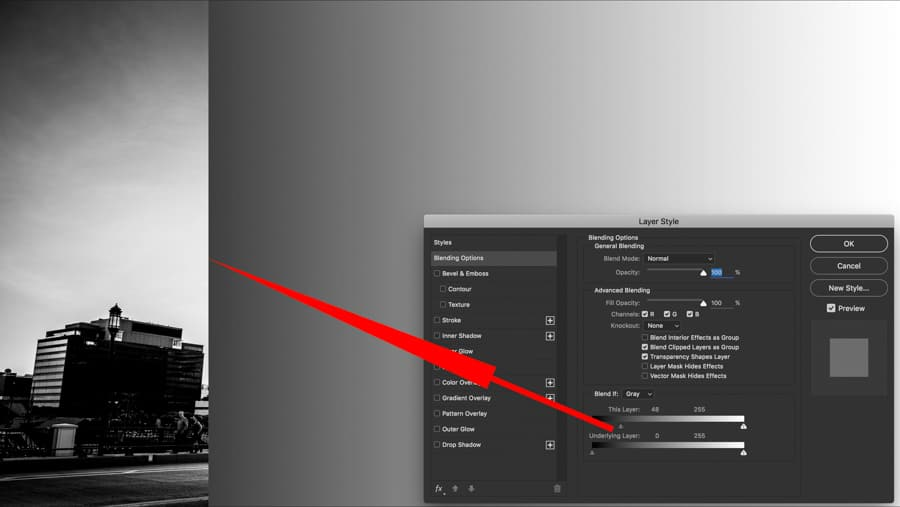 I added a BLACK to WHITE GRADIENT layer from RIGHT TO LEFT on top layer and slid the THIS LAYER SLIDER right to left and the gradient simply drops off as I slide that tonal value to right.