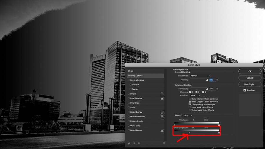 Using the UNDERLYING SLIDER, the tonal values in the image interact with the top layer.