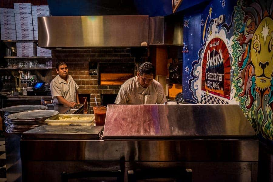 Making pizza at John's of Bleeker Street. Photo by author.