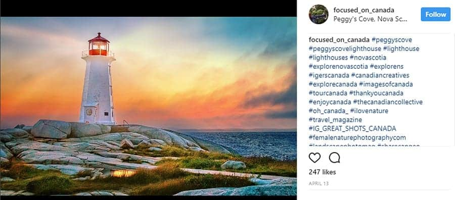 Peggy's Cove at sunset, photographed by Tracy Munson.