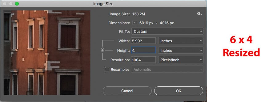 "Resizing your image to 6"" by 4"""