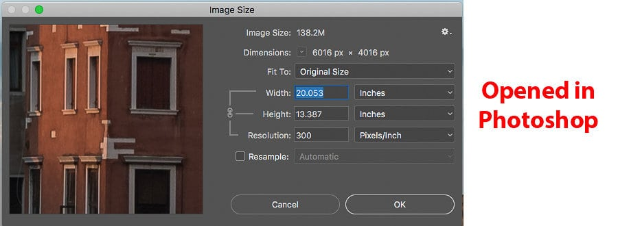 Image Size window when first opened in Photoshop