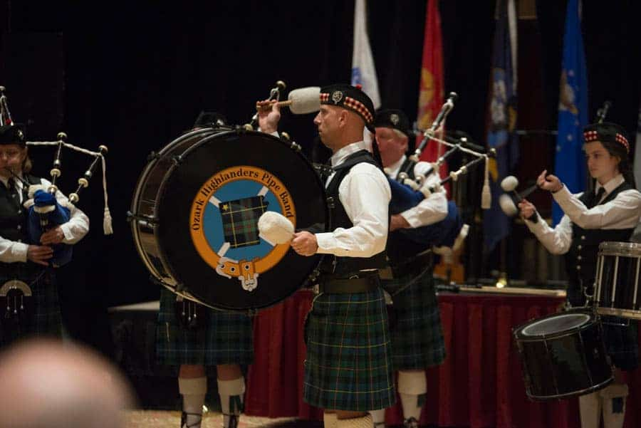 bagpipe band at charity event
