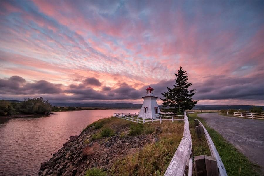 Sunset at the Anderson Hollow Lighthouse, in New Brunswick. Photographed by Tracy Munson with the Laowa 12mm Wide Angle Zero D lens.