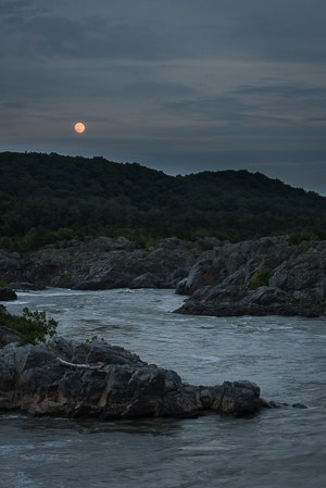 Moonrise over the Potomac River Gorge at Great Falls.