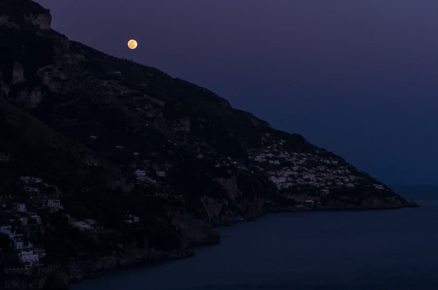 Moonrise over Positano.