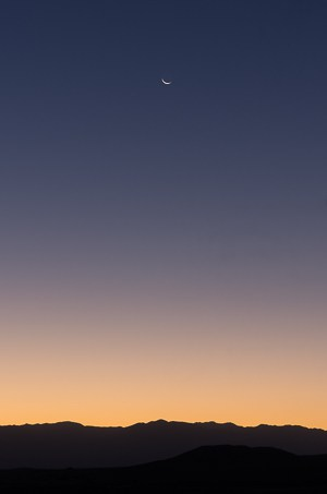 Crescent moon at Death Valley.