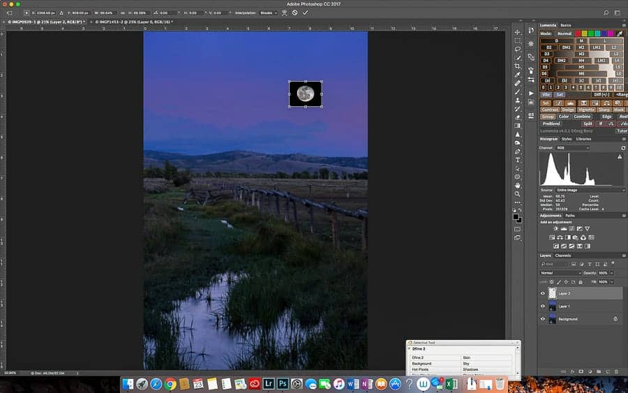 Placing the moon into the landscape image.