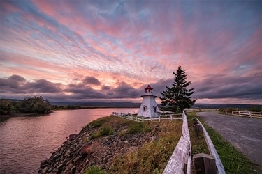 A photo of the Anderson Hollow Lighthouse in New Brunswick, by Tracy Munson