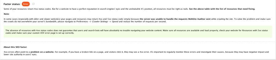 SEO error explained