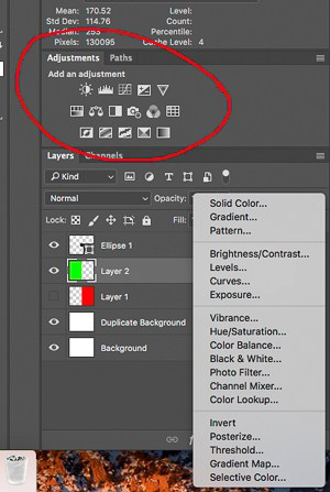 Two Places to Find Adjustment Layers
