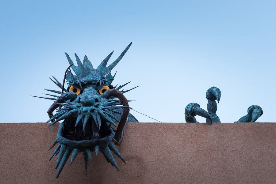Dragon sculpture on roof of an art gallery, Santa Fe,
