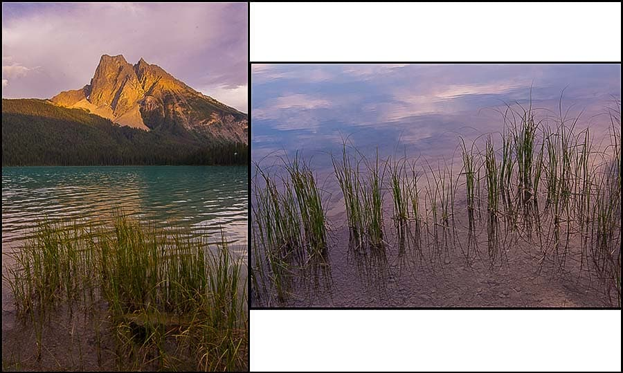 Emerald Lake, two views.
