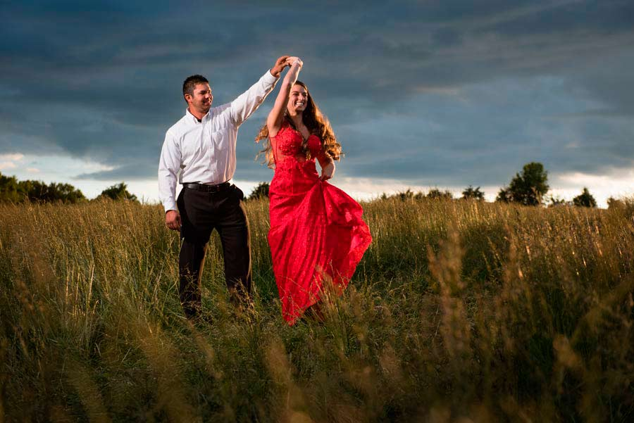 XPLOR 600 engagement photo in field