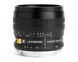 A product photo of the Lensbaby Burnside 35.