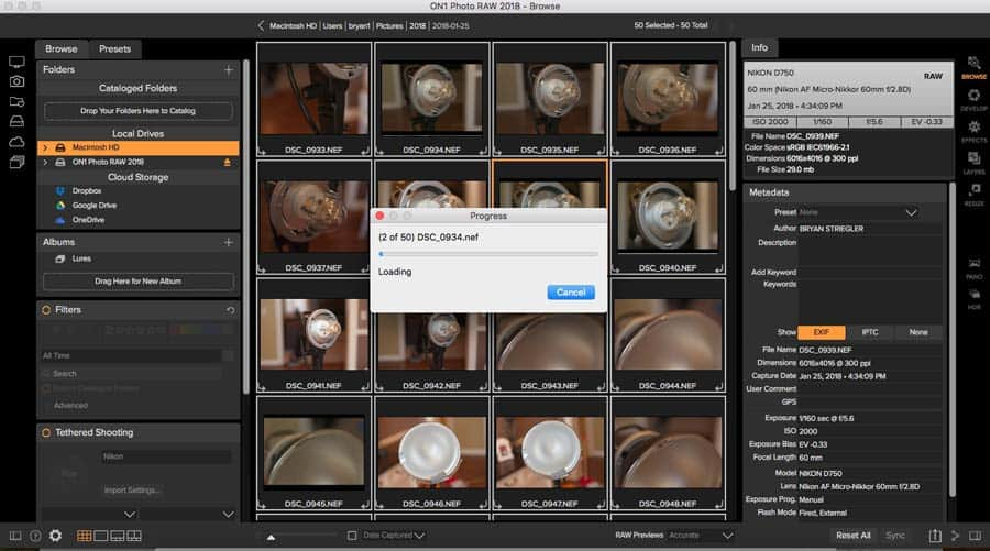 On1 Photo RAW exporting dialogue
