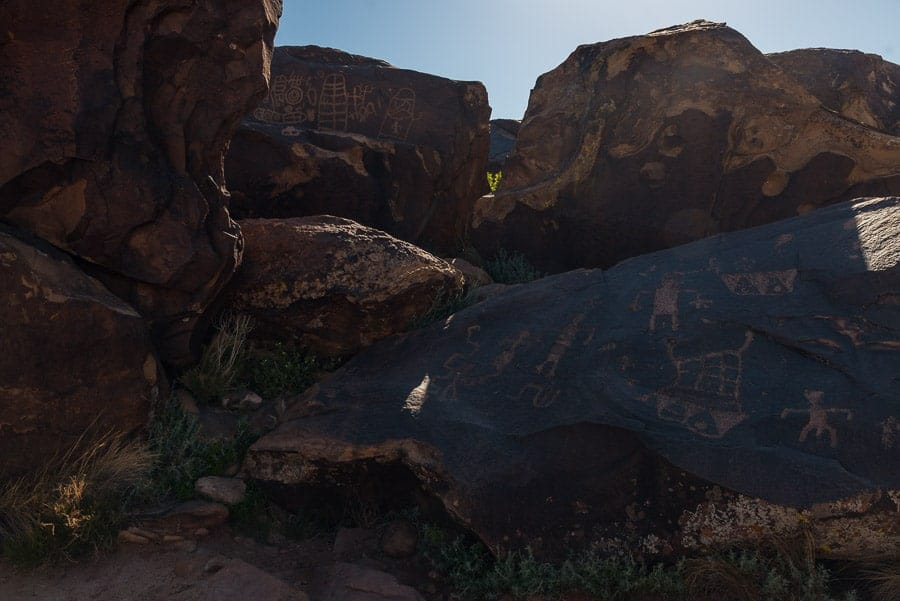The black rocks on which these petroglyphs are carved will fool the camera's light meter.