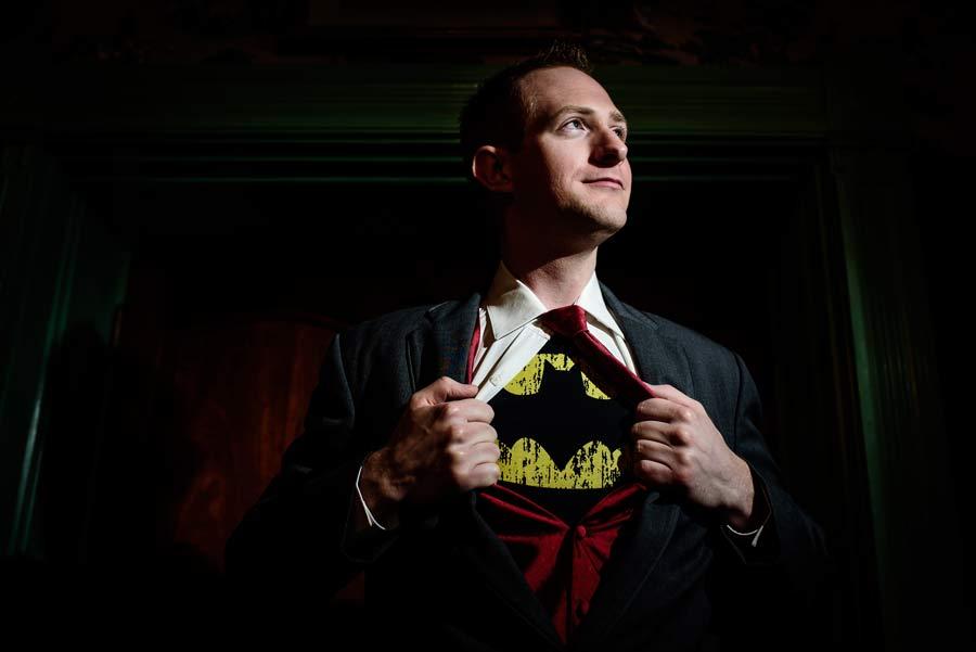 groom with superhero shirt