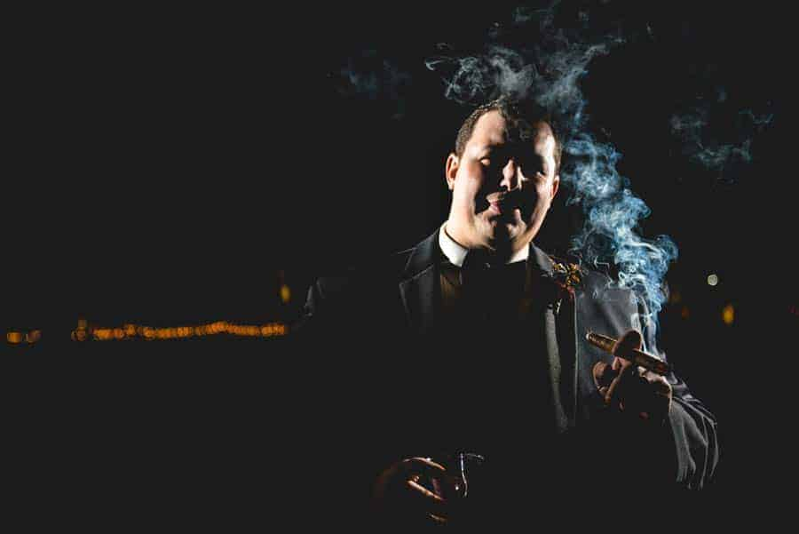 smoking groom photo