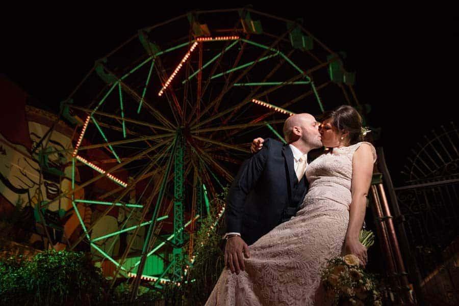 wedding photo with ferris wheel