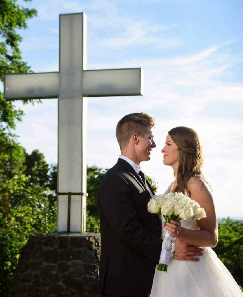 wedding photo in midday sun