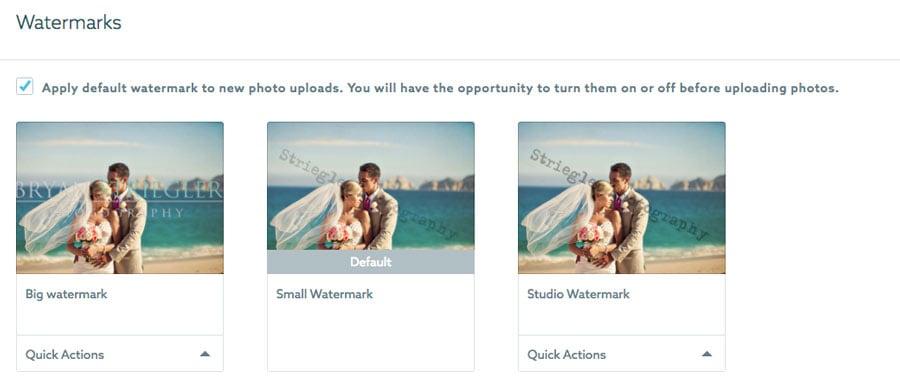 ShootProof watermark options