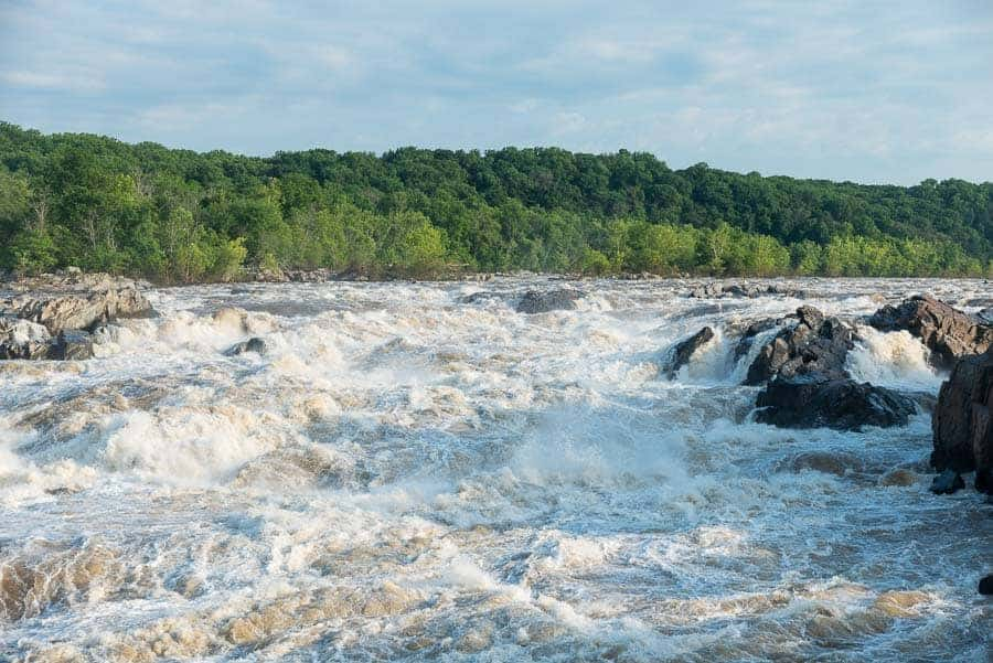 Potomac River raging past Great Falls.