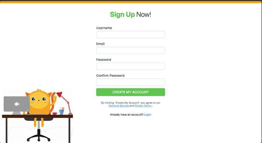 sign up page for jotform